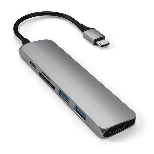 USB-C адаптер Satechi Type-C Slim Multiport Adapter V2. Интерфейс USB-C. Порты: USB-C Power Delivery (PD), 2хUSB 3.0, 4K HDMI, micro/SD-Space Gray (уценка, вскрытая коробка)