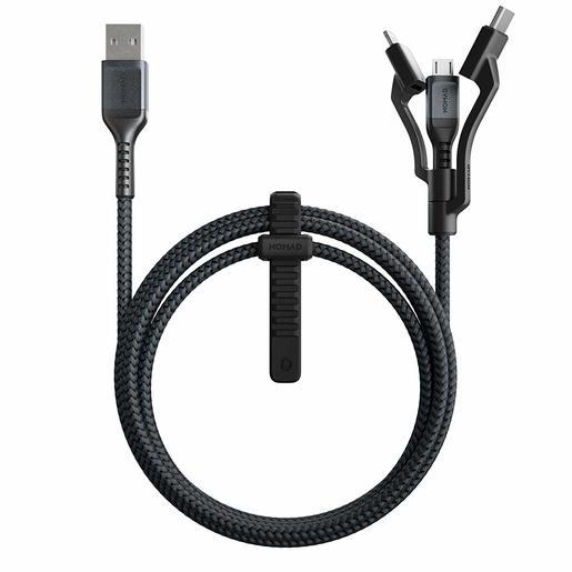 Кабель Nomad Universal Cable Kevlar 3 in 1. Основной кабель Type-C to Type-C, переходники USB-A, Micro USB. Материал кевлар. Длина 1.5 м. Цвет чёрный.