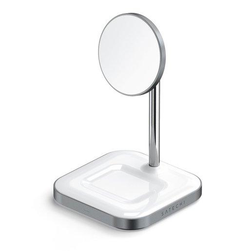 Беспроводное зарядное устройство-подставка Satechi Magnetic 2-in-1 Wireless Charging Stand. Материал алюминий. Цвет: серый космос.