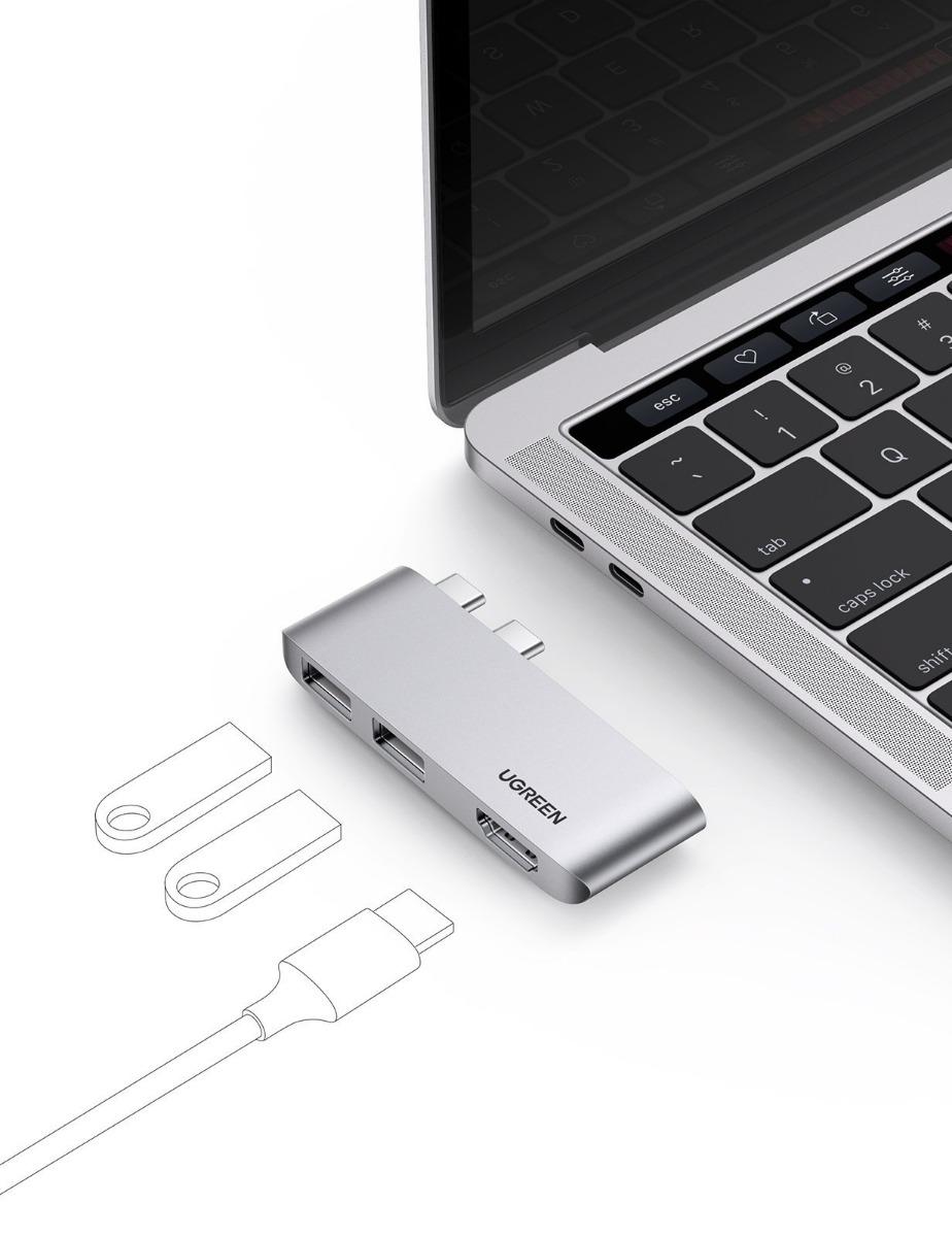10914 UGREEN. USB концентратор Ugreen для MacBook (хаб), 2 x USB 3.1, HDMI