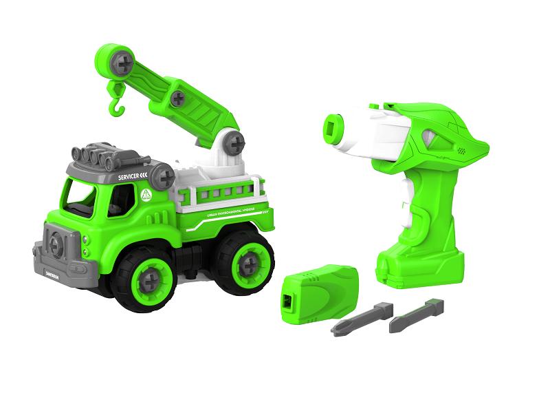 Набор пластмассовых деталей для сборки Подъемного крана с пультом ДУ (зеленый) (BHX TOYS: CJ-1365130)