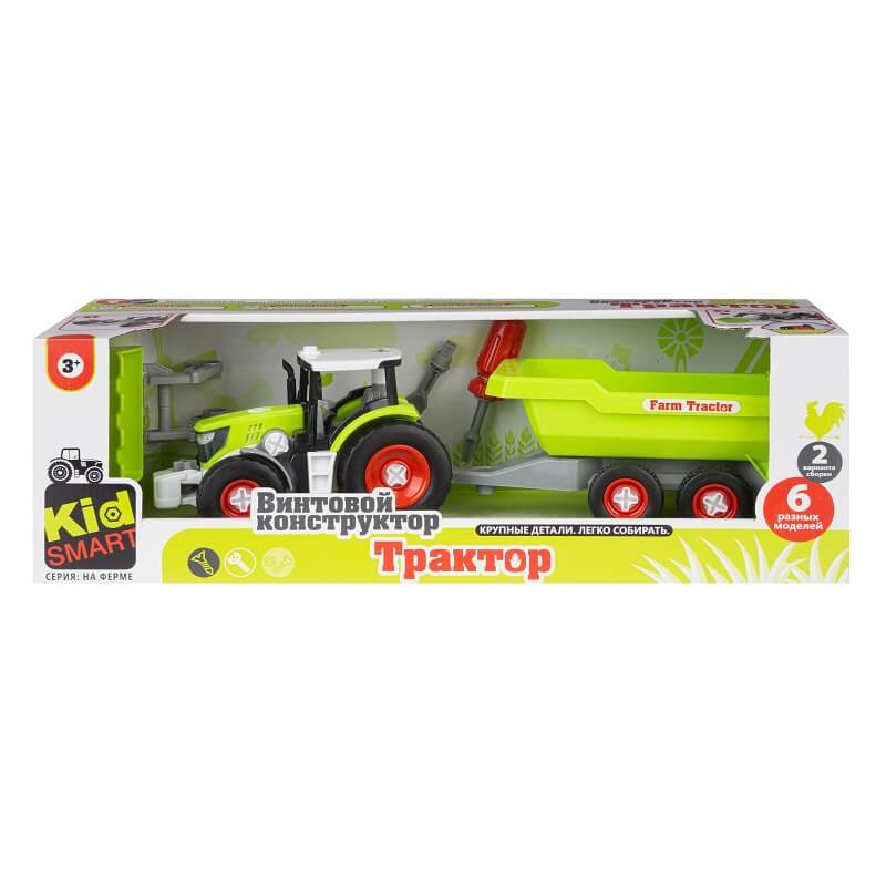 Набор пластмассовых деталей для сборки трактора с прицепом (Union Vision: KM-281A)