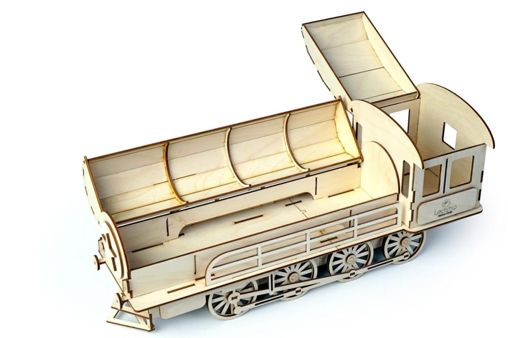 Конструктор 3D деревянный подвижный Lemmo Пенал-Паровоз