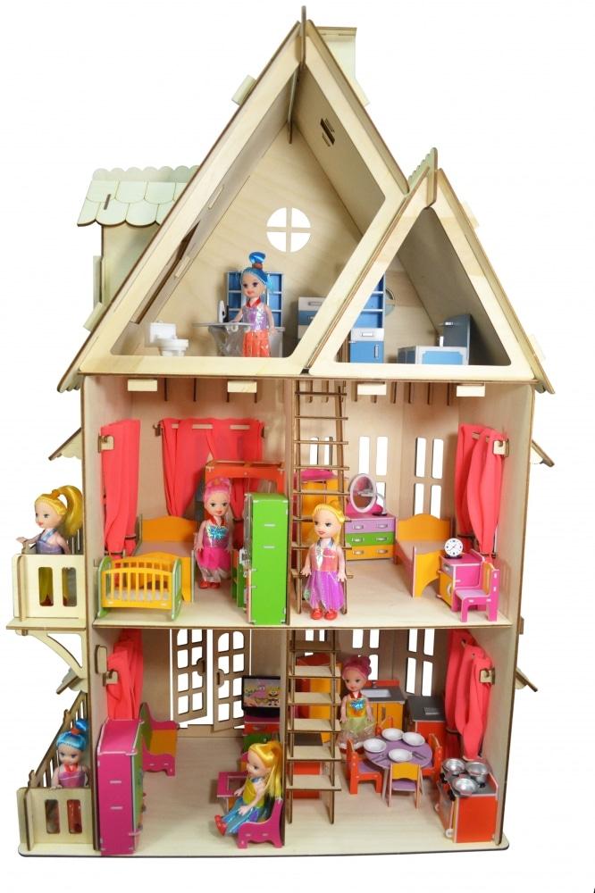 Кукольный домик Хэппикон + набор мебели 6 комнат