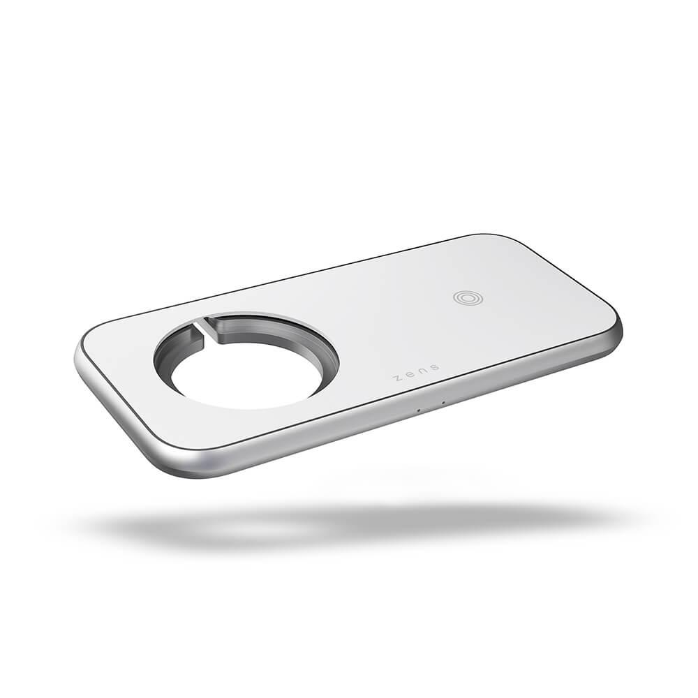 Беспроводное зарядное устройство ZENS 3in1 charger Designed for Magsafe 10W+ Room for Magsafe + USB-A. Цвет: белый.
