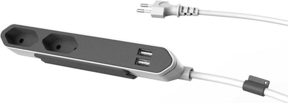 Сетевой удлинитель Allocacoc Powerbar без заземления 2 розетки 1.5 м USB (9102/PB2SEU)