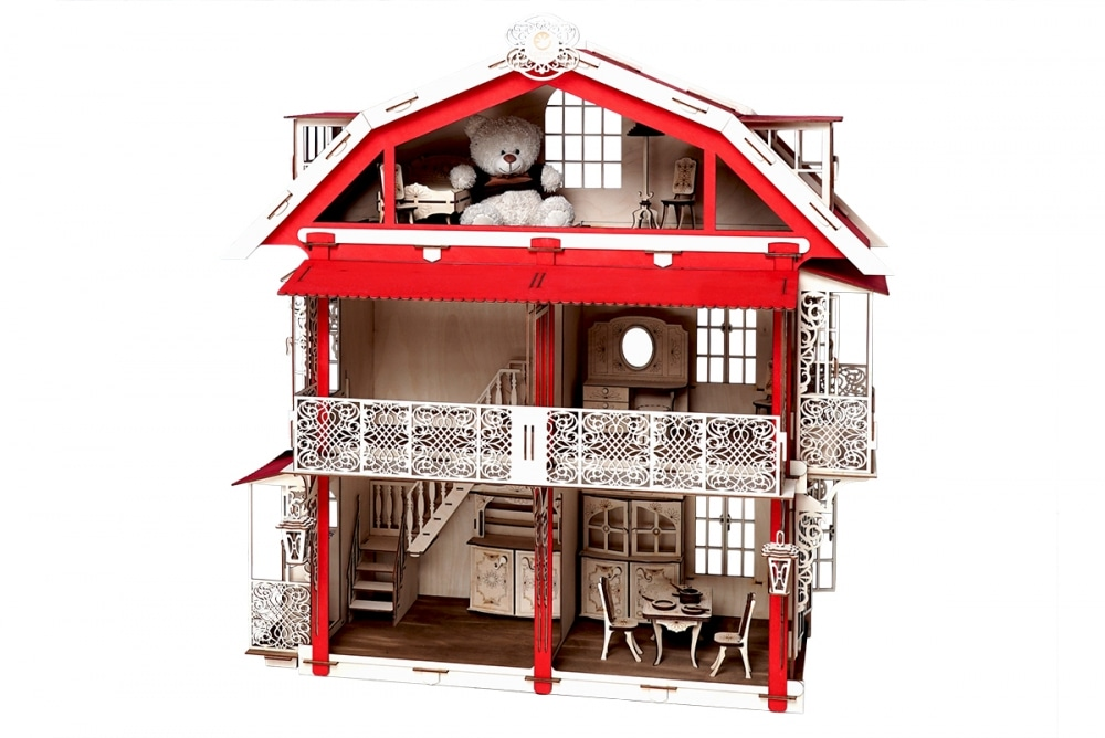 Конструктор 3D деревянный подвижный Lemmo Большой дом для кукол