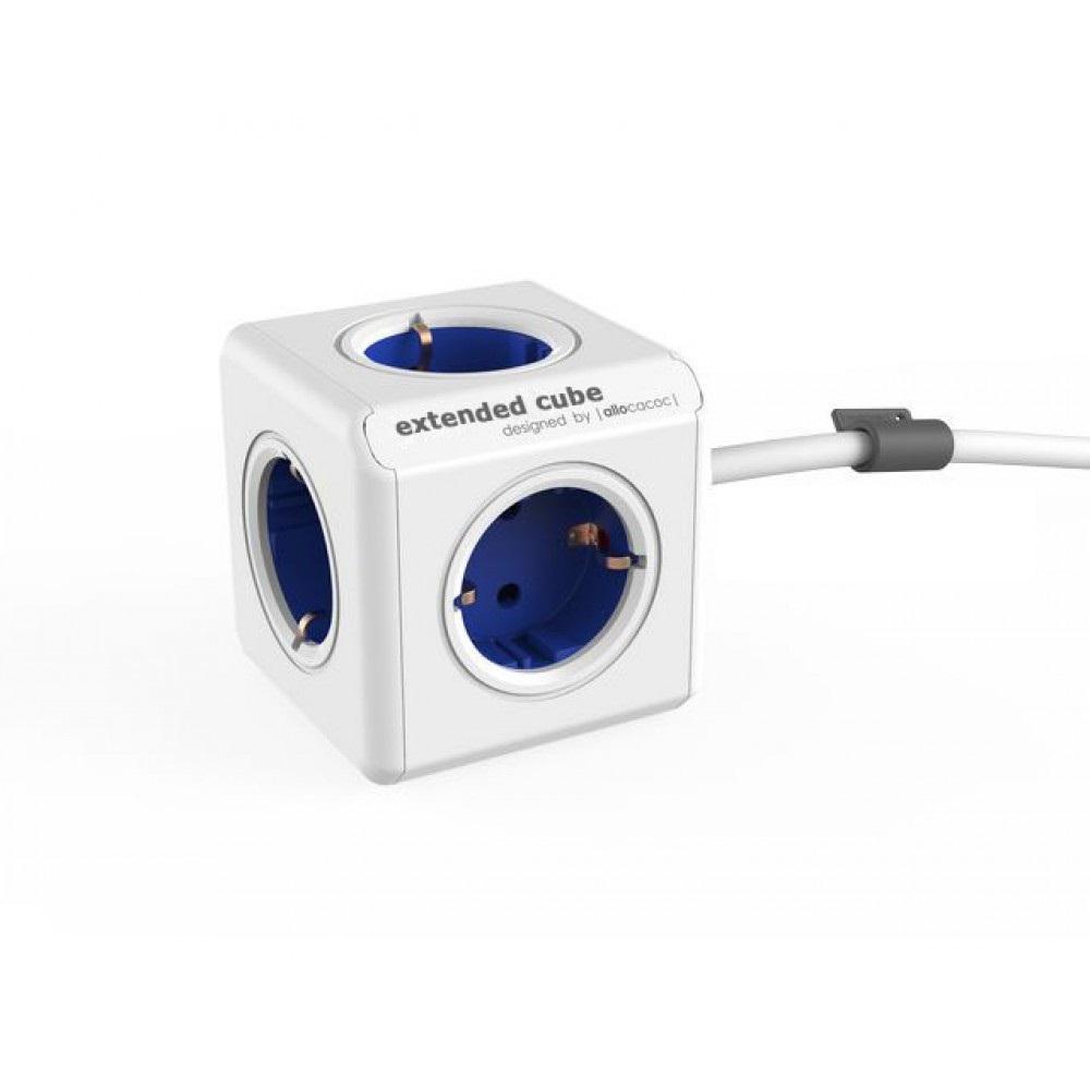 Сетевой удлинитель Allocacoc Powercube Extended с заземлением 5 розеток 1.5 м Синий (уценка, вскрытая коробка)
