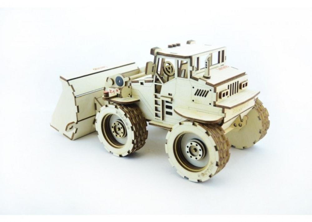 Конструктор 3D деревянный подвижный Lemmo Трактор Бульдог