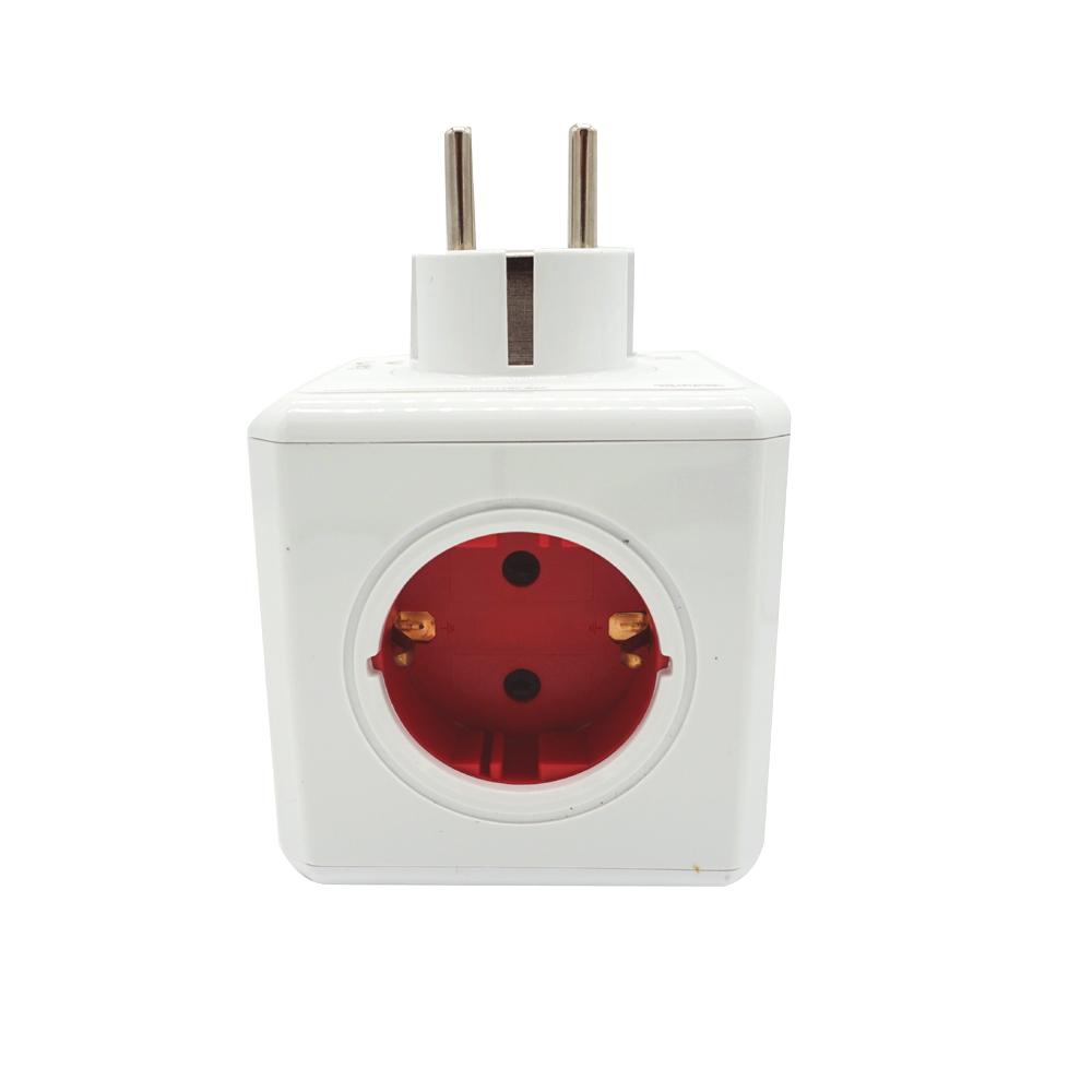Сетевой разветвитель Allocacoc Powercube Original с заземлением 5 розеток Красный (уценка, дефект упаковки)
