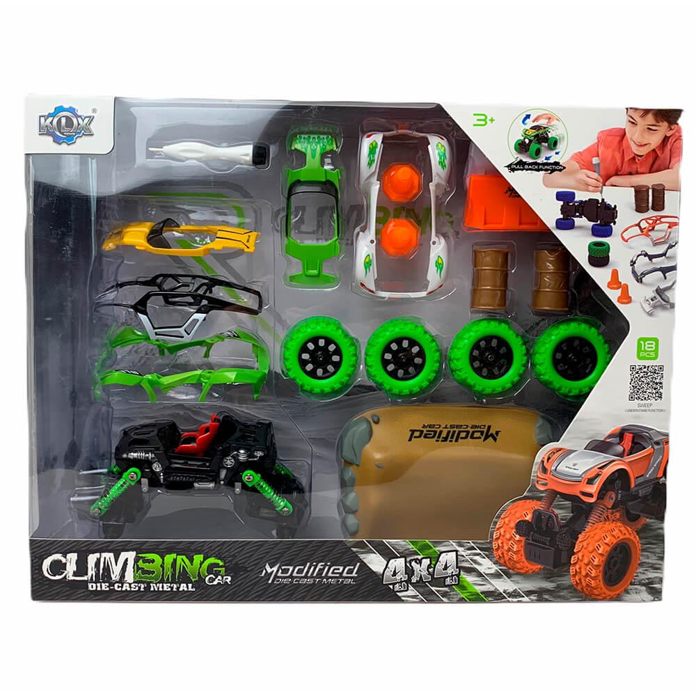 """Машинка - конструктор """"4Х4"""" Modified, зеленый и фиолетовый"""