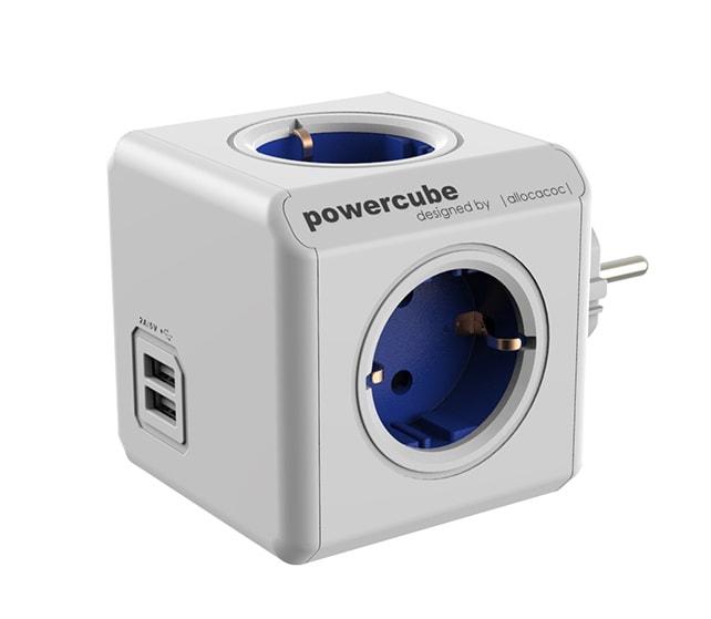 Сетевой разветвитель Allocacoc Powercube Original 4 розетки, 2 USB