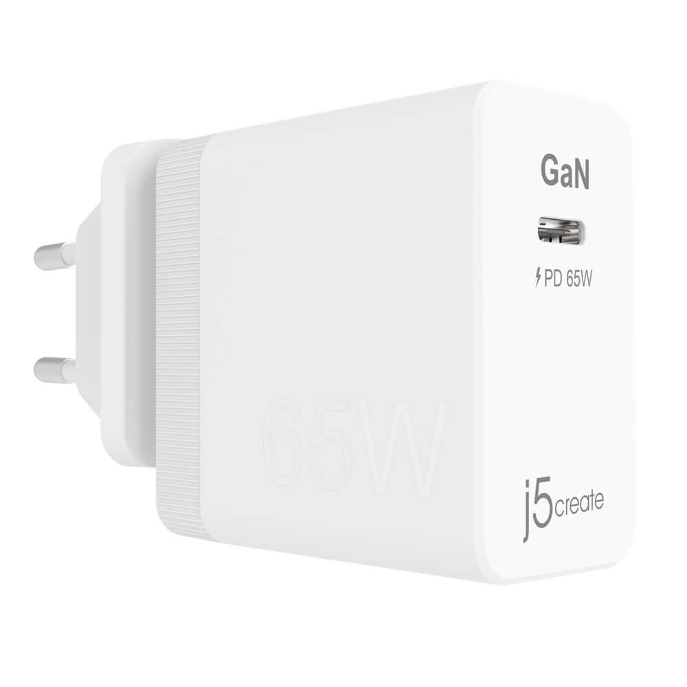 Сетевое зарядное устройство j5create GaN PD USB-C Mini Charger с мощностью зарядки до 65 Вт.