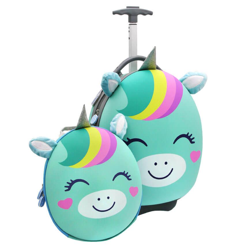 Комплект (рюкзак и чемодан) Anilove Единорог Юни (мятный)