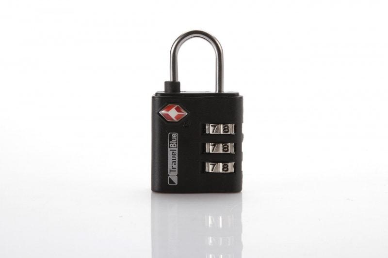 Кодовый навесной замок Travel Blue для багажа, сталь, цвет черный
