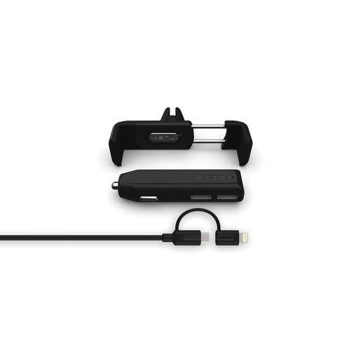 Комплект Kenu Airframe+ Car Kit Deluxe. Автомобильное зарядное устройство Kenu Dual Trip, крепление Kenu Airframe+ и провод USB на Lightning.