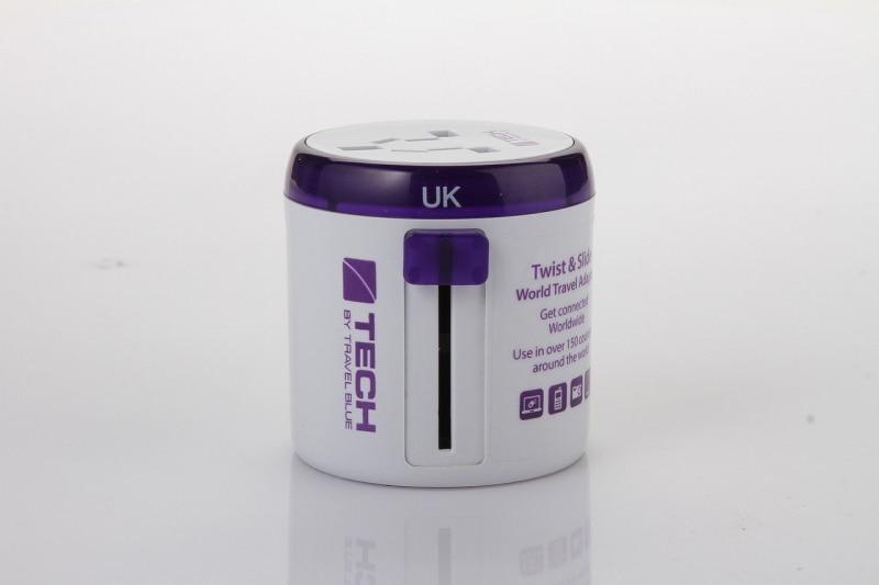 Универсальный адаптер-переходник Travel Blue Sliding Adaptor, цвет белый/фиолетовый