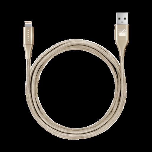 LENZZA Nylon Braided Kevlar Cable Кевларовый кабель Lightning to USB, длина 1,2 м. Цвет золотой.