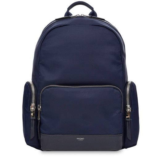 "Рюкзак Knomo Barlow для ноутбука до 15"" дюймов. Материал нейлон, кожа натуральная. Цвет темно-синий."