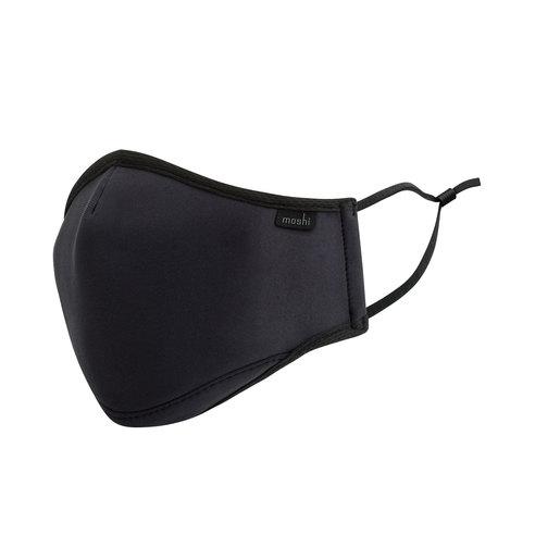Многоразовая маска Moshi OmniGuard Mask с тремя сменными фильтрами Nanohedron. Материал: полиэстер 95%, резина 5%. Размер: L. Цвет: черный. Moshi OmniGuard Mask (L) - Black