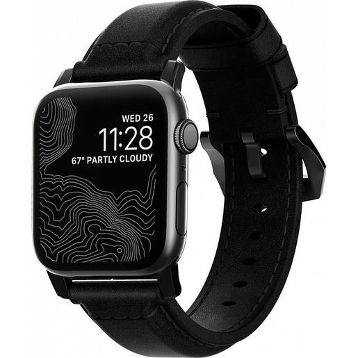 Ремешок Nomad Traditional Strap для Apple Watch 44mm/42mm. Материал кожа натуральная. Цвет ремешок черный, застежка черный.