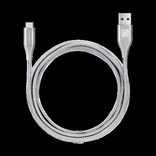 LENZZA Nylon Braided Кевларовый кабель Type-C to USB, длина 2 м. Цвет серебряный.