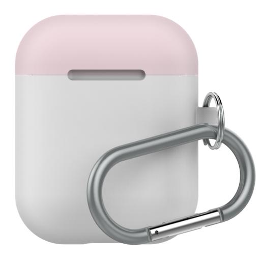 Чехол LAB.C AirPods Capsule 2in1 для зарядного устройства наушников Apple Airpods. Материал силикон. Цвет основной белый. Цвет крышек розовый, коралловый.