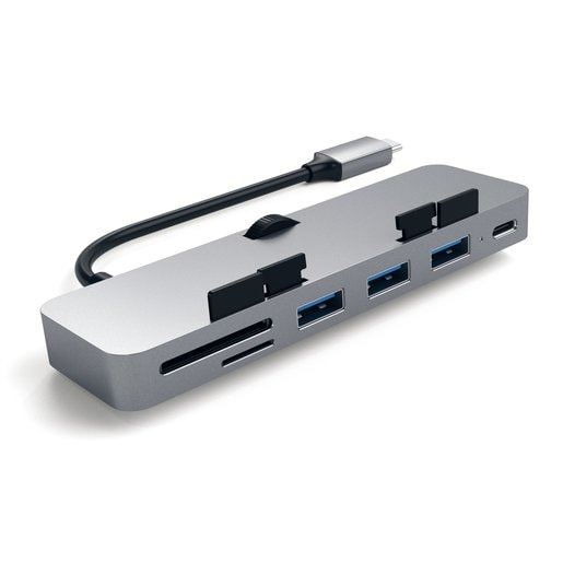 USB-концентратор Satechi Aluminum Type-C Clamp Hub Pro для new 2017 iMac и iMac Pro. Интерфейс USB-C. 3 разъема USB 3.0, 1 разъем USB-C, слоты для карты памяти SD, Micro SD. Цвет серый космос.