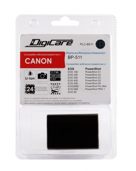 DigiCare PLC-B511 / BP-511 / EOS 40D, EOS 50D, EOS 5D, Power Shot G1
