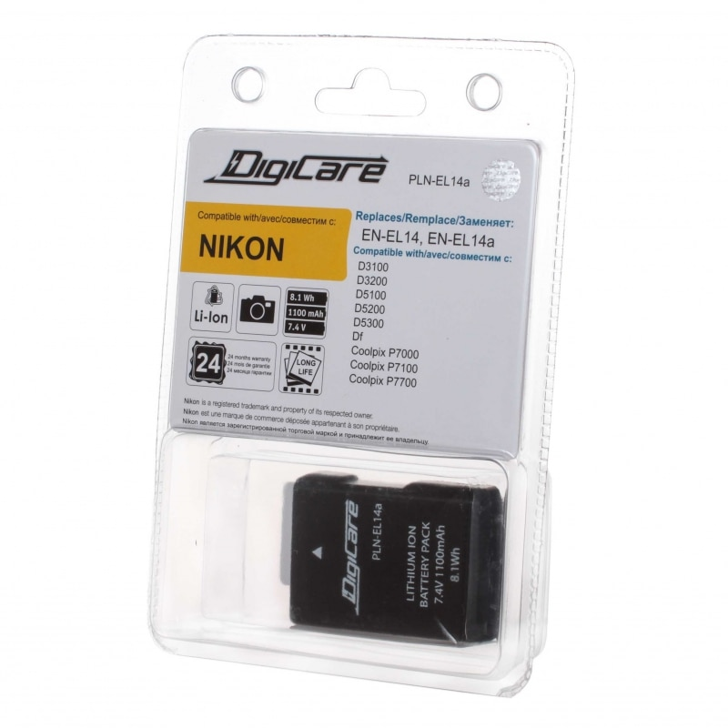 DigiCare PLN-EL14a / EN-EL14, EL14a, для D3200, D3300, D5300, Df, CoolPix P7800