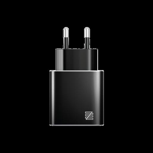 Сетевое зарядное устройство LENZZA Piazza Metallic Wall Charger. Два порта USB 5В, 2,1А. Цвет черный.