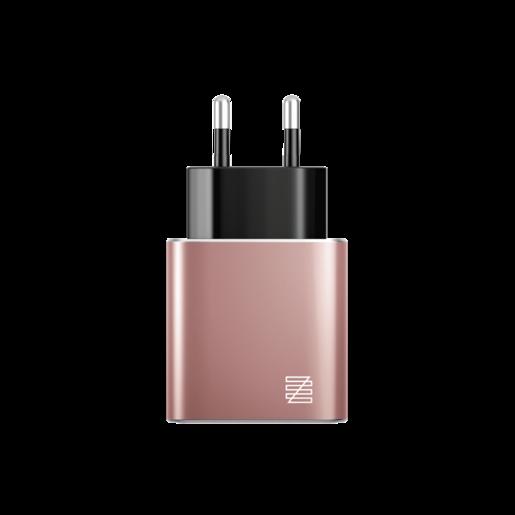 Сетевое зарядное устройство LENZZA Piazza Metallic Wall Charger. Два порта USB 5В, 2,1А. Цвет розовое золото.