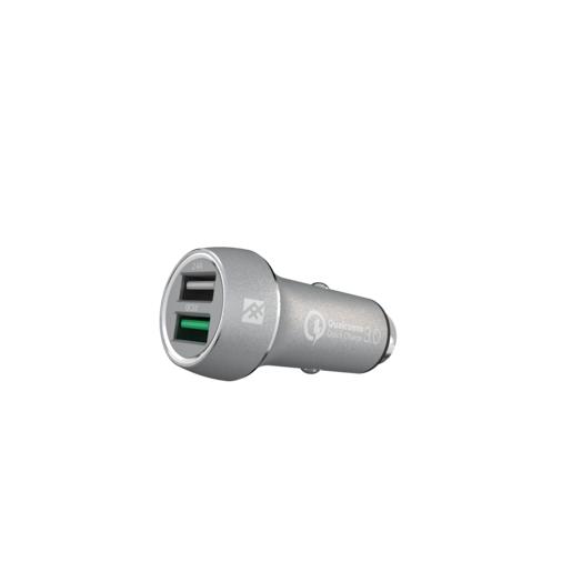 Автомобильное зарядное устройство iFrogz Unique Sync Dual для мобильных устройств. Два USB порта 2.4А каждый. Технология QuickCharge. Цвет серебряный.