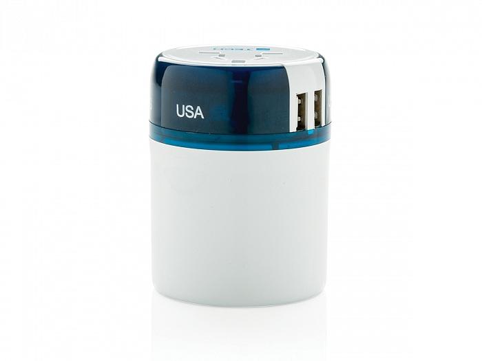 Универсальный адаптер-переходник Travel Blue Sliding Adaptor с USB-портами для зарядки, цвет белый/синий