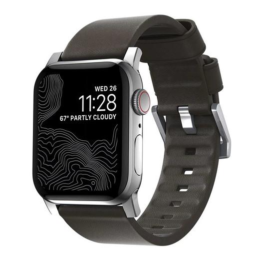 Ремешок Nomad Active Modern Leather Strap для Apple Watch 44mm/42mm. Материал кожа натуральная водоотталкивающая. Цвет ремешок кофейный, застежка серебряный.