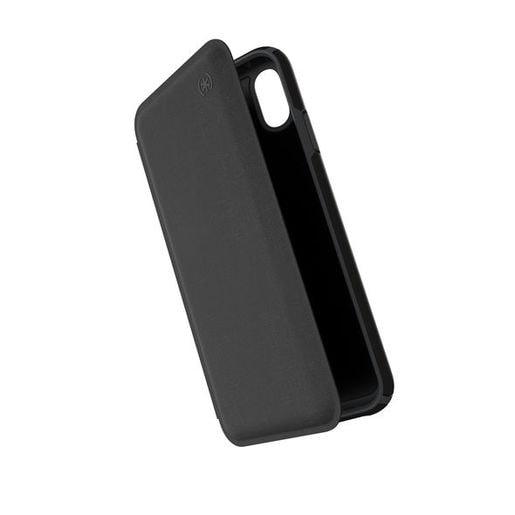 Чехол-книжка Speck Presidio Folio для iPhone XS Max. Материал пластик, полиуретан. Цвет черный/серый.