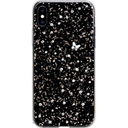 Чехол Bling My Thing для iPhone XS/X, с кристаллами Swarovski. Материал пластик 100%. Коллекция Papillon. Дизайн Crystal. Цвет черный.