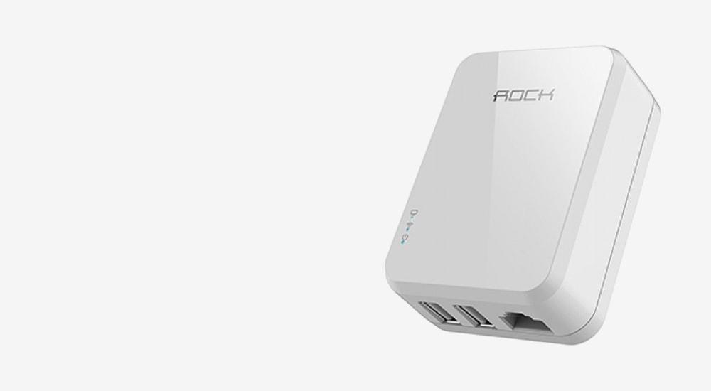 Сетевой блок питания c функцией Wi-Fi роутера Rock Tank Travel Charger 3,4A 2 USB/RJ45 (ROT0711)