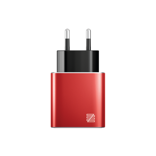 Сетевое зарядное устройство LENZZA Piazza Metallic Wall Charger. Два порта USB 5В, 2,1А. Цвет красный.