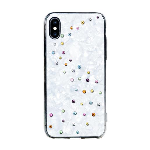 Чехол Bling My Thing для iPhone XS Max, с кристаллами Swarovski. Материал пластик. Коллекция Milky Way. Дизайн Cotton Candy. Цвет белый.
