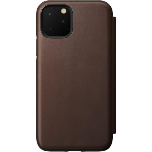 Чехол-книжка Nomad Rugged Leather Folio для iPhone 11. Материал кожа натуральная. Цвет светло-коричневый (Rustic Brown).