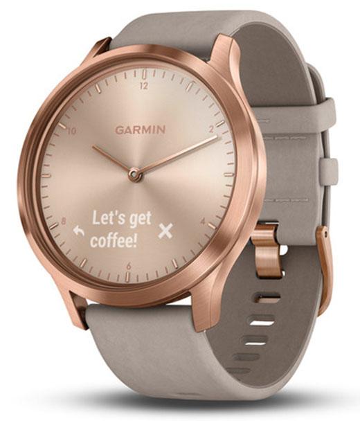 Умные часы Garmin Vivomove HR Premium 127-204 mm 010-01850-09 (Rose Gold/Gray Suede)