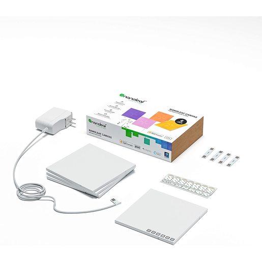 Светодиодный светильник Nanoleaf Canvas Smarter Kits. Состоит из 4 независимых светодиодных панелей.