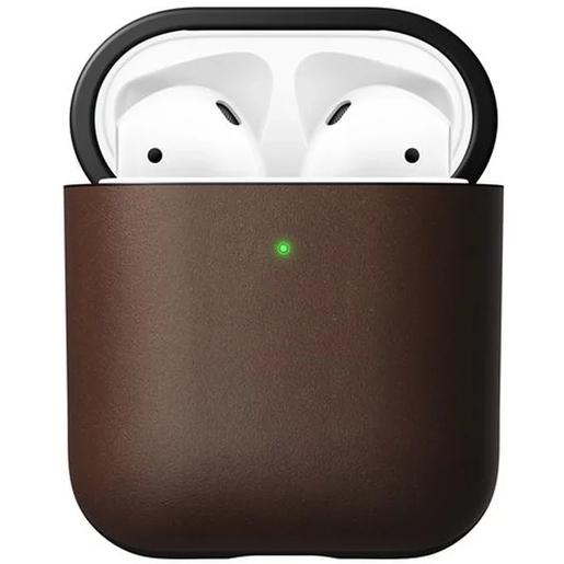 Чехол Nomad Rugged Case V2 для зарядного кейса наушников Apple Airpods и AirPods Wireless Charging Case. Материал кожа натуральная. Цвет темно-коричневый.