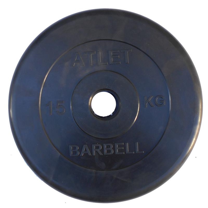 Диски обрезиненные, чёрного цвета, 51 мм, Atlet MB-AtletB50-15