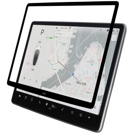 Матовое защитное антибликовое покрытие Moshi iVisor для сенсорного экрана автомобиля Tesla Model 3. Цвет боковых сторон - черный.