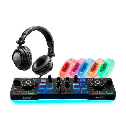 Набор для ди-джея. В комплект входит: DJ контроллер Hercules DJControl Starlight, проводные мониторные наушники HDP DJ45, светящиеся браслеты LED Wristbands Pack 5 шт.