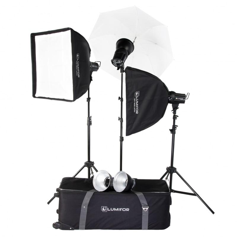 Комплект студийного света Lumifor AMATO 200 ADVANCE KIT, импульсный 3х200Дж, 2 Софтбокса, Зонт