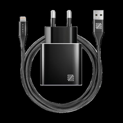 Сетевое зарядное устройство LENZZA Piazza Metallic Wall Charger. Два порта USB 5В, 2,1А. В комплекте: кевларовый кабель Lightning to USB Cable. Цвет черный.