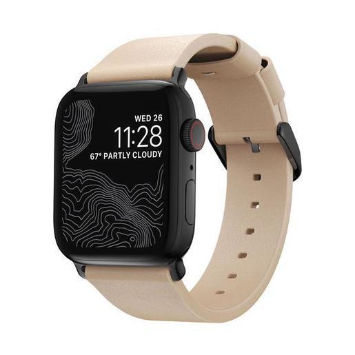 Ремешок Nomad Modern Slim Leather Strap для Apple Watch - 40/38mm. Материал: натуральная кожа. Цвет ремешка: бежевый. Цвет застежки: черный.